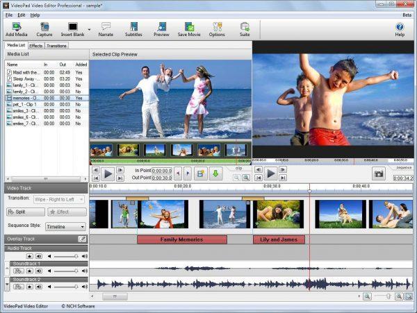 Интерфейс программы VideoPad Video Editor