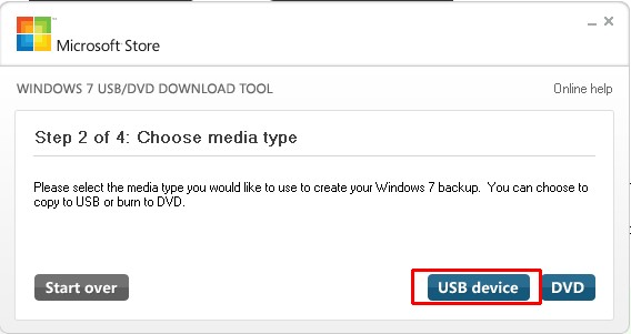 Пункт Choose media type в USB/DVD Download Tool