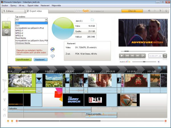 Интерфейс программы Pinnacle VideoSpin