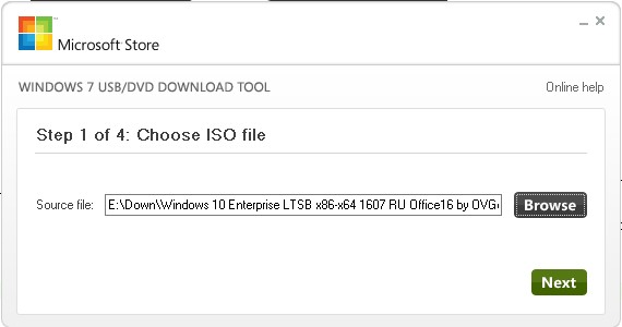 Пункт Choose ISO file в USB/DVD Download Tool
