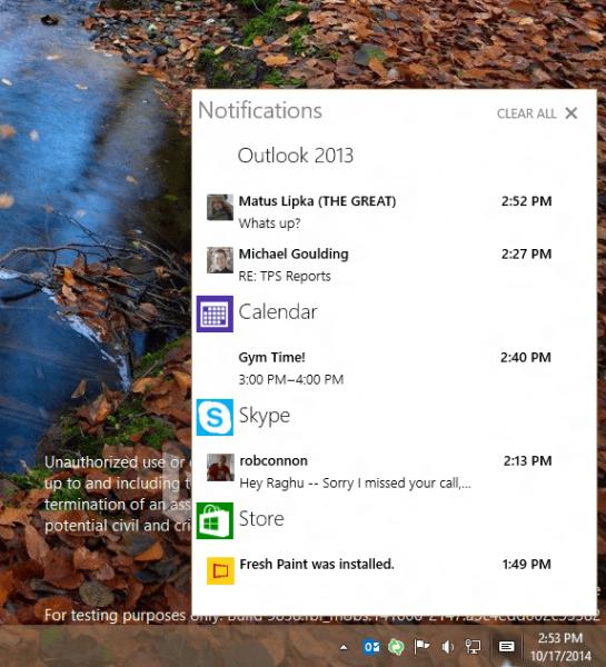 Action Center отслеживает любые действия в приложениях Windows 10