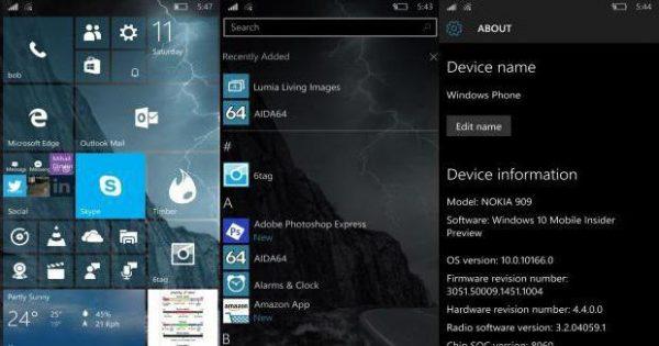 Информация о мобильной версии Windows 10 в «Сведениях об устройстве»