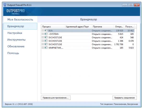 Избирательное блокирование процессов Windows в Agnitum OP Firewall