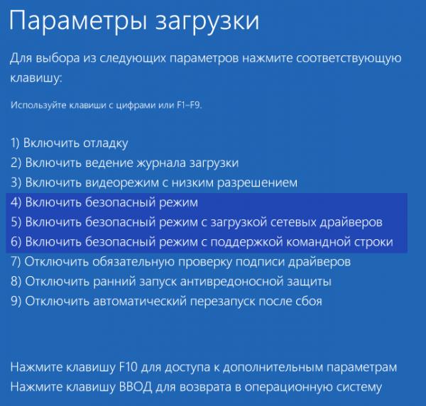 Меню выбора вариантов особого режима запуска Windows 10
