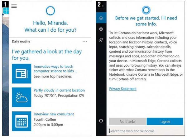 Приложение Cortana в Windows 10
