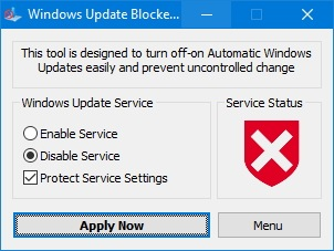 Приложение Windows Update Blocker