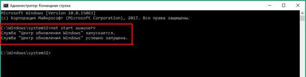 Процесс включения автозапуска «Центра обновления Windows»