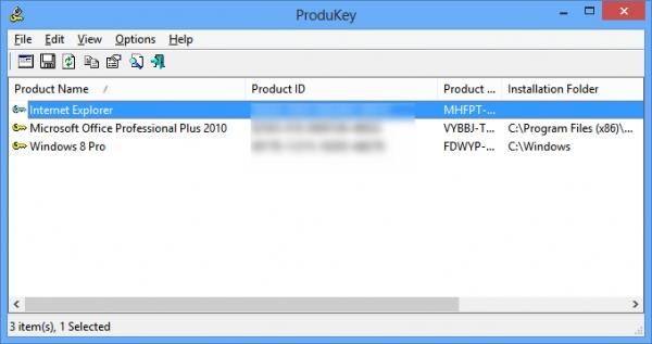 Программа ProduKey