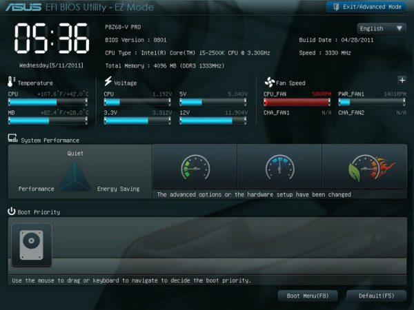 Общий вид системного интерфейса UEFI