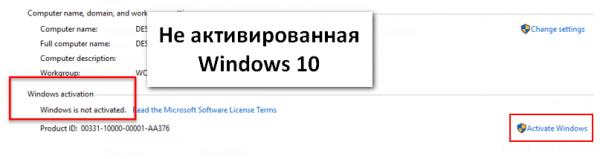 Кнопка Activate Windows