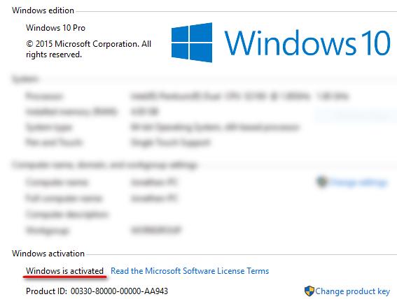 Пункт Windows activation