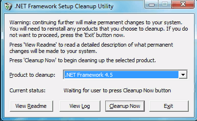 Удаление .NET через NET Framework Cleanup Tool