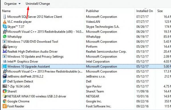Удаление программы Windows 10 Upgrade Assistant