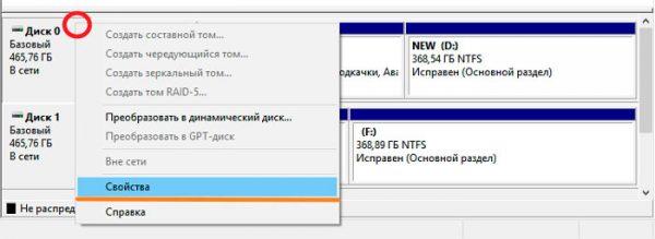 Окно программы «Управление дисками» с информацией об установленных дисках