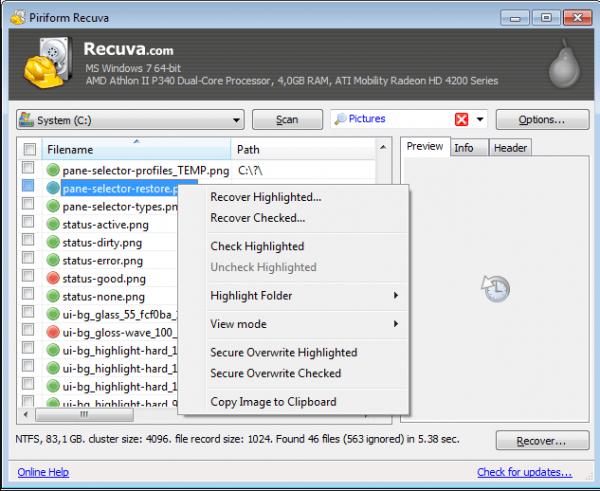 Восстановление данных при помощи Recuva
