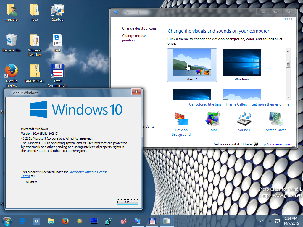 windows 10 aero