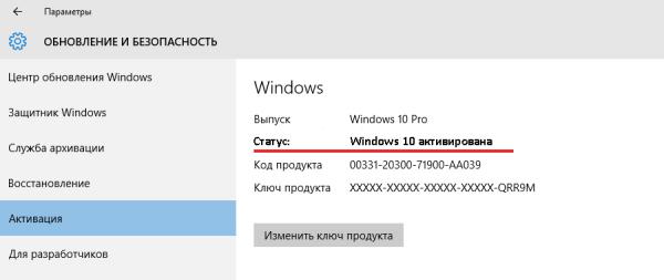 Статус Windows 10 Pro во вкладке «Активация»