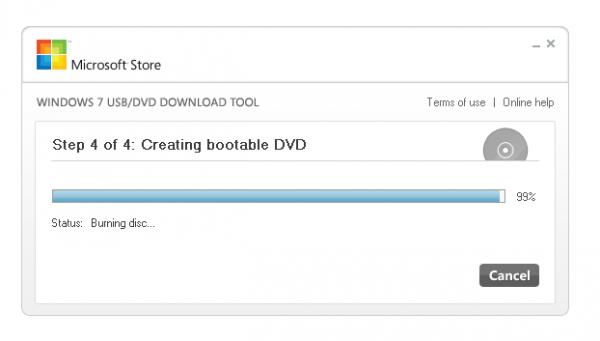 Запись оптического диска в программе Windows USB/DVD Download Tool