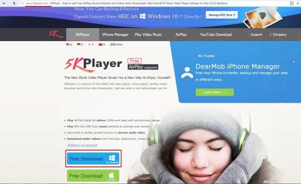 Официальный сайт 5KPlayer