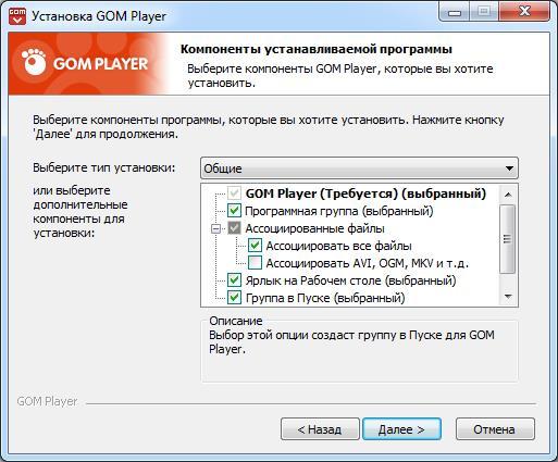 Окно настроек установки GOM Player