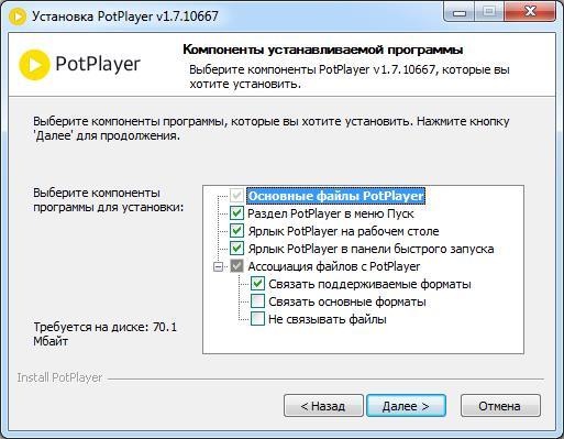 Окно настроек установки PotPlayer
