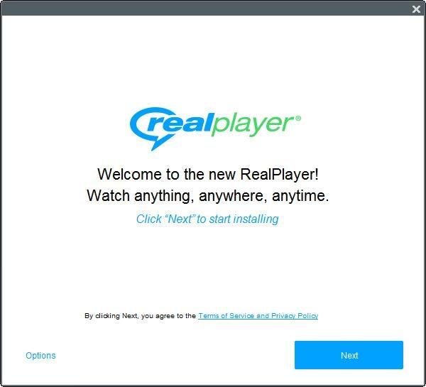 Окно настроек установки RealPlayer