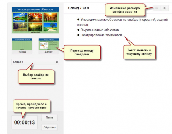 Просмотр презентации с заметками