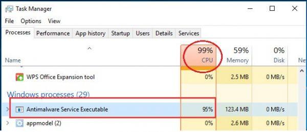 Процесс Antimalware Service Executable грузит систему Windows 10