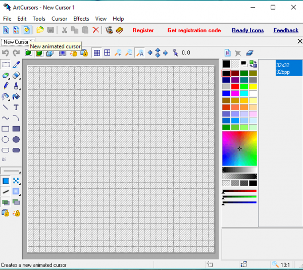 Кнопка для запуска опции New animated cursor
