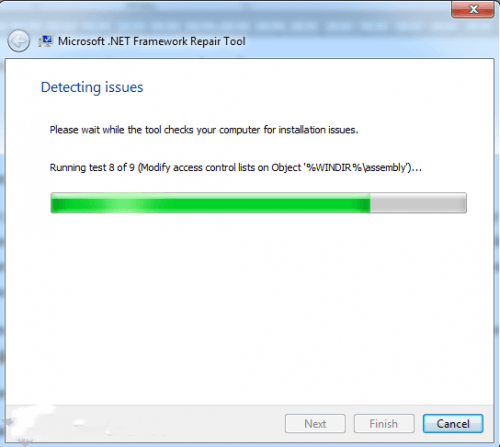 Процесс загрузки Microsoft .NET Framework Repair Tool