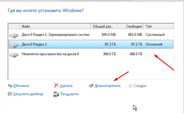 Форматирование при установке Windows