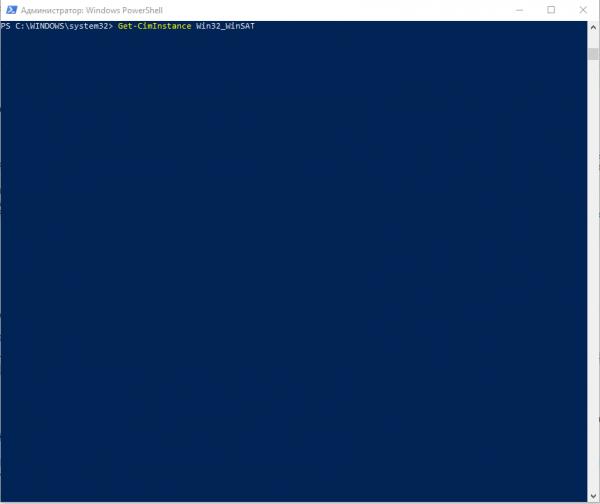 Ввод команды в окне Windows PowerShell