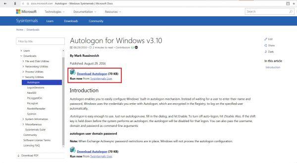 Официальная страница Windows Sysinternals