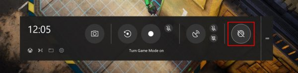 Окно Game Bar на Windows 10