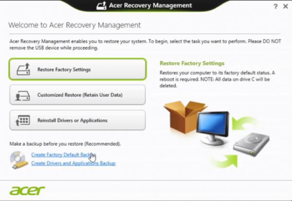 Сброс Windows 10 на ноутбуке Acer