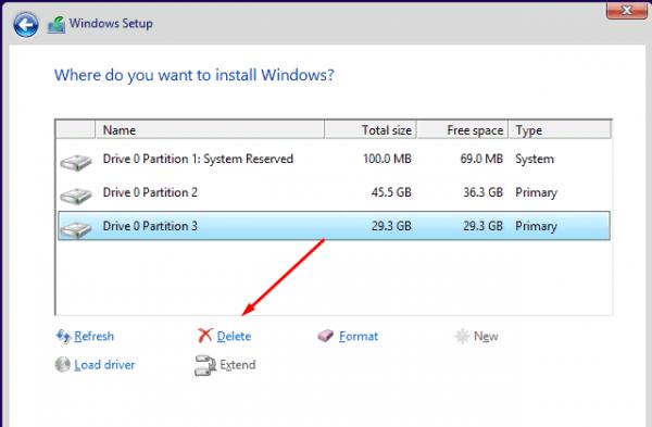 Удаление раздела при установке Windows
