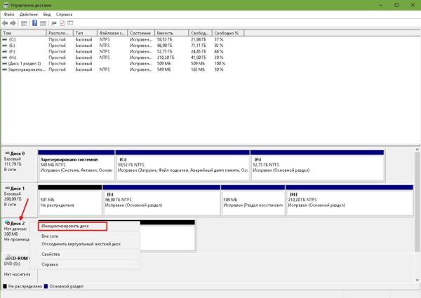 Как инициировать виртуальный жёсткий диск