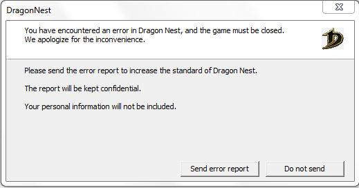 Ошибка «You have encountered an error in Dragon Nest, and the game must be closed»