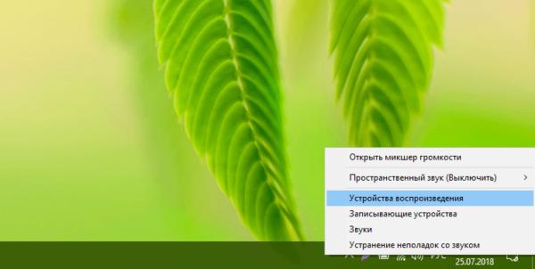 Контекстное меню иконки «Динамики»