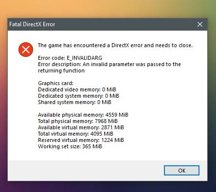 «Фатальная ошибка» DirectX