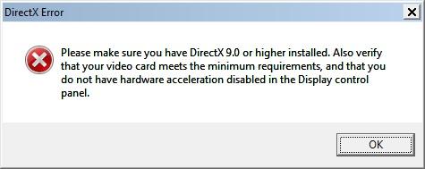 Критическая ошибка несовместимости DIrectX с версией ОС Windows