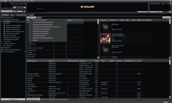 Окно библиотеки воспроизведения на Winamp