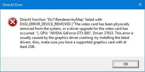 Ошибка совместимости DirectX с видеокартой