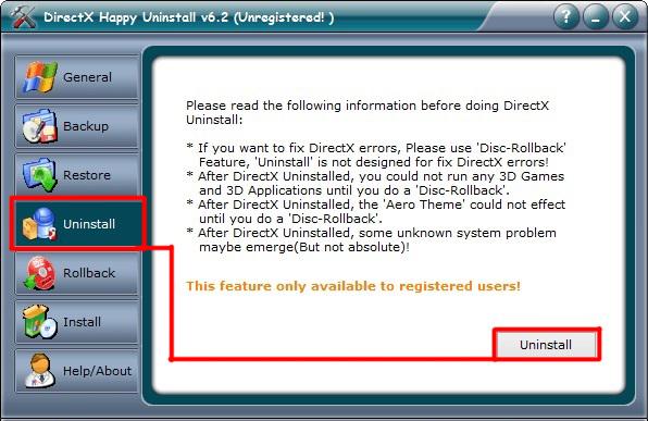 Внешний вид окна утилиты DirectX Happy Uninstall