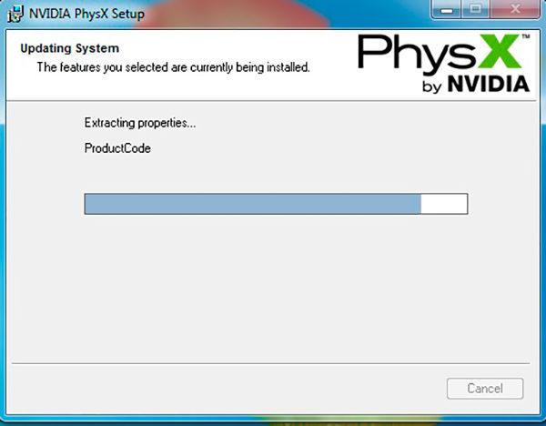Процесс установки PhysX на Windows 10