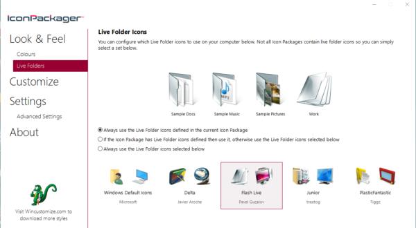 Вкладка Live Folders