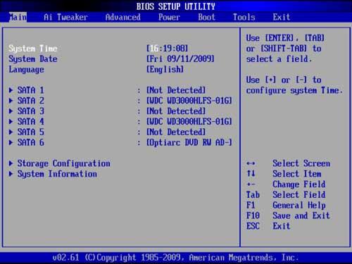 Интерфейс AMI BIOS