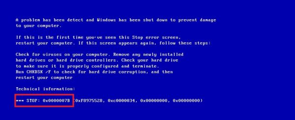 Ошибка STOP: 0x0000007B при запуске ОС Windows