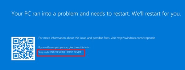 Ошибка STOP: INACCESSIBLE_BOOT_DEVICE при запуске ОС Windows