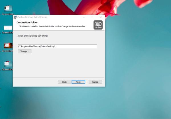 Выбор папки для Zimbra Desktop